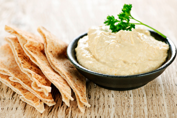 Pita chips with hummus