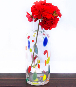 Polka dot blown glass bud vase