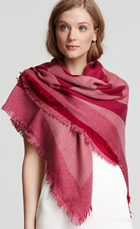 two-tone (fuchsia and crimson) Tory Burch square scarf
