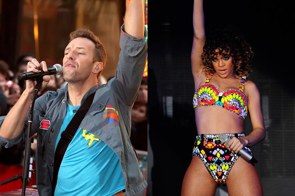 Rihanna and Coldplay performing at the Grammys
