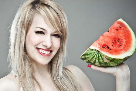 Sexy woman with watermelon