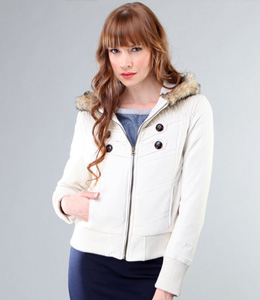 White shawl collar Buffalo puffer jacket