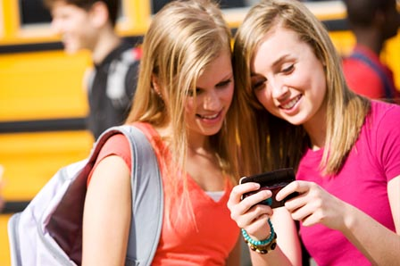 Teens with cell phones