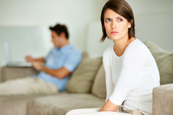 Unhappy woman with boyfriend