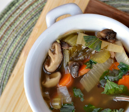 Hearty double mushroom soup