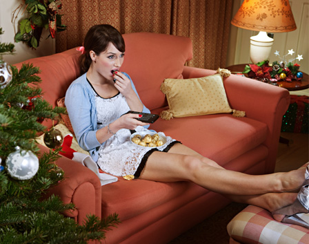Woman eating Christmas snack