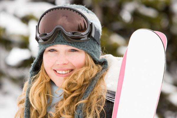 Woman on ski trip