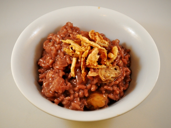 Red wine makes risotto rich and hearty