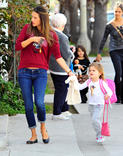 Pregnant Alessandra Ambrosio and daughter Anja