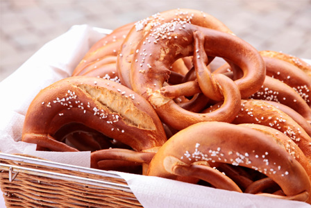 Basket of soft pretzels