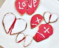 Broken heart cookies