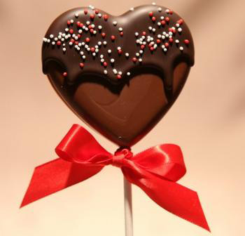 Chocolate heart pops