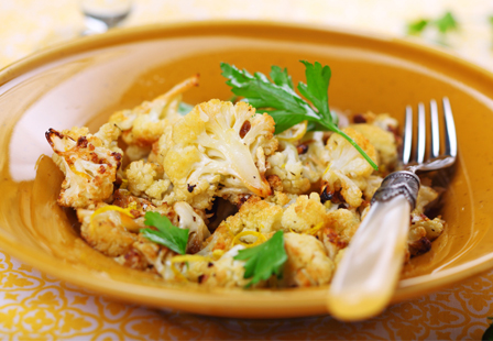 Sautéed cauliflower with olives and orange zest