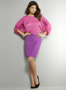 Color-blocked pink dress