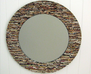 Mirror made from recycled magazines