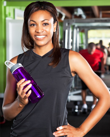 Fitness woman with water bottle