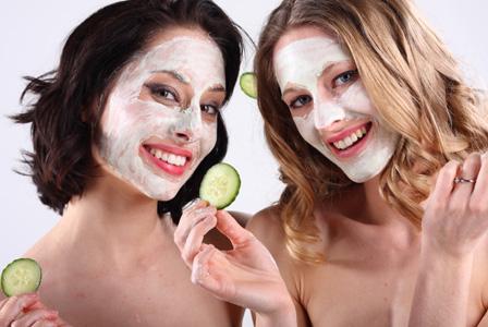 women with cucumber facials