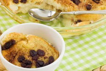 Gluten-free raisin bread pudding