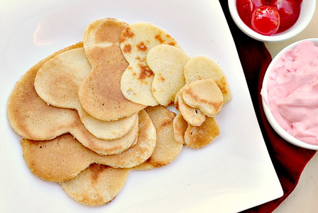 Heart shaped crepes