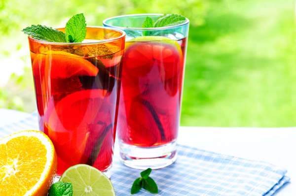 Homemade sangria with orange and lime