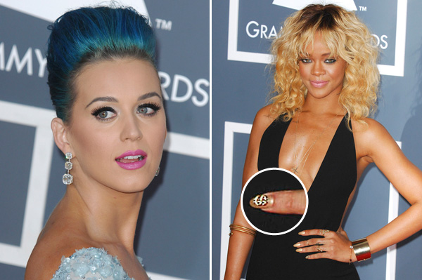 Katy Perrys faux lashes and Rihanna's manicure