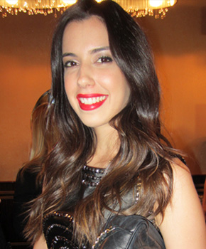 Camila Coutinho with red lipstick