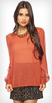 gathered sleeve blouse from Forever 21 in rust