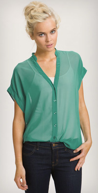 red haute slouchy mandarin collar sheer shirt from Nordstrom, available in coral and aqua