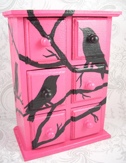 Hot pink black bird jewelry box