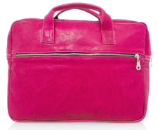 La Mer Fuschia Washed Leather Gold Laptop Case, $128