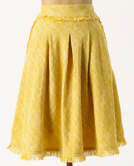 Sunny skirt -- a-line yellow tweed skirt