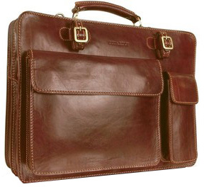 Chiarugi Handmade Brown Leather Double Gusset Briefcase (forzieri.com, $688)