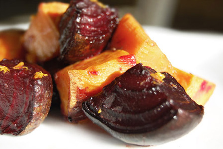 Roasted red and yellow beets with orange