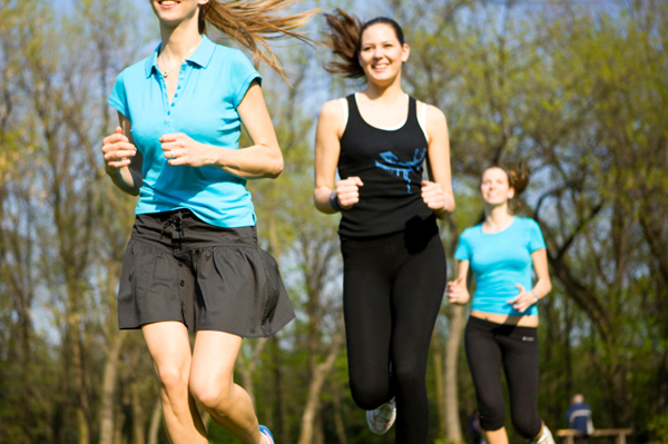 Stylish women running