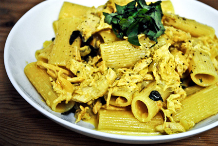 Rigatoni with wine-braised chicken and saffron cream