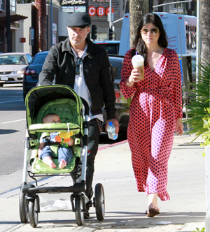 Selma Blair and boyfriend with baby Arthur