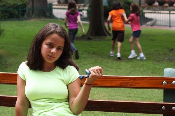 Teen with asthma inhaler