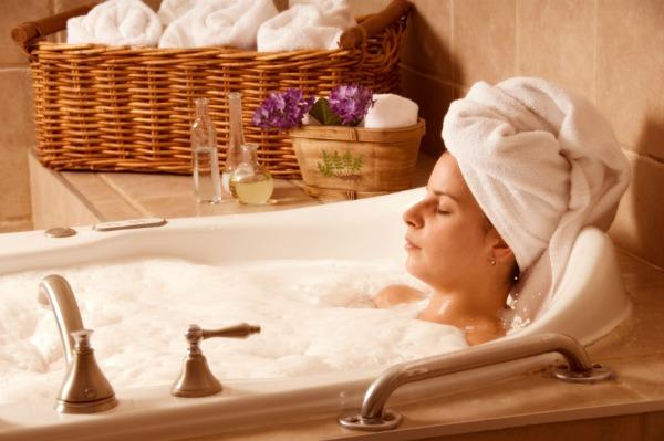Women relaxing in bath