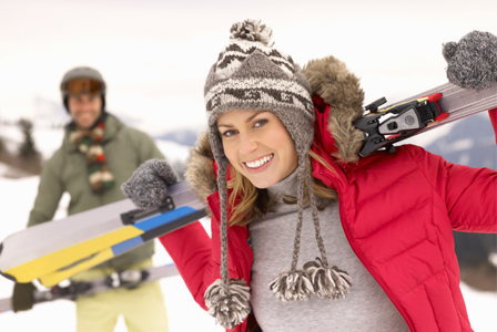Woman on skiing date