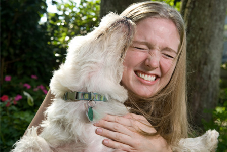 Woman with foster dog