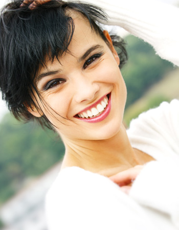 Woman with healthy short hair