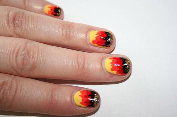 Дизайн огня на ногтях