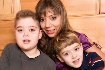 Autistic boy and family