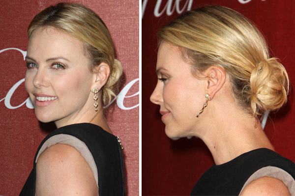 Charlize Theron wearing a low chignon