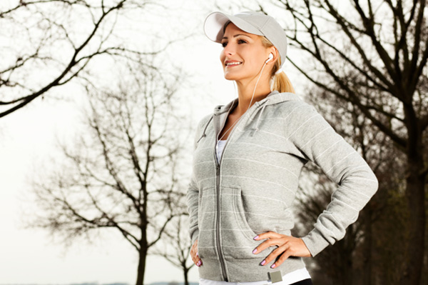 Woman jogging in cold weather