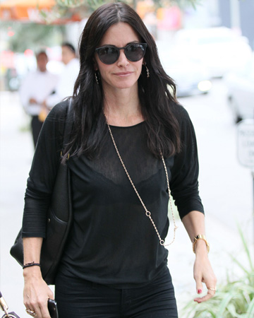 Courtney Cox wearing sheer top