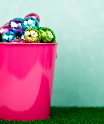 Easter eggs in bucket