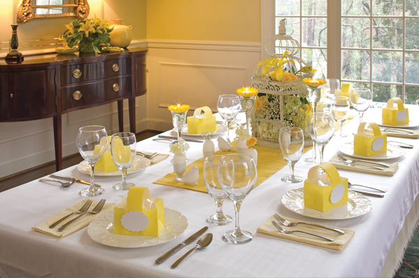 table set for Easter dinner