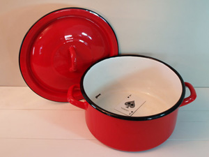 Retro red lidded pot