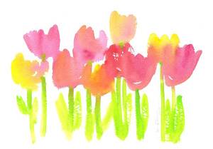 Bright tulips in watercolor